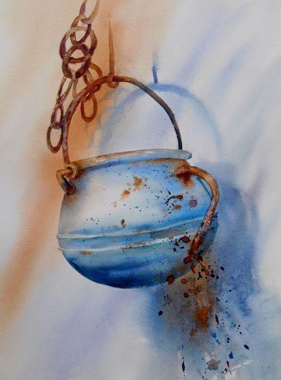 Aquarel Pot Bleu40x50 Peinture Acrylique Abstraite Aquarelle