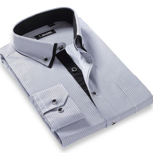 Double Collar Long Sleeve Regular Fit Casual Shirt - S - 4XL