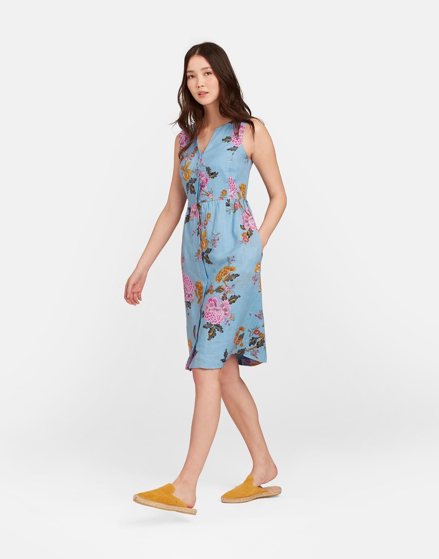 eaa020647b1 Lisia LIGHT BLUE CHINOISE Sleeveless Button Down Linen Dress ...