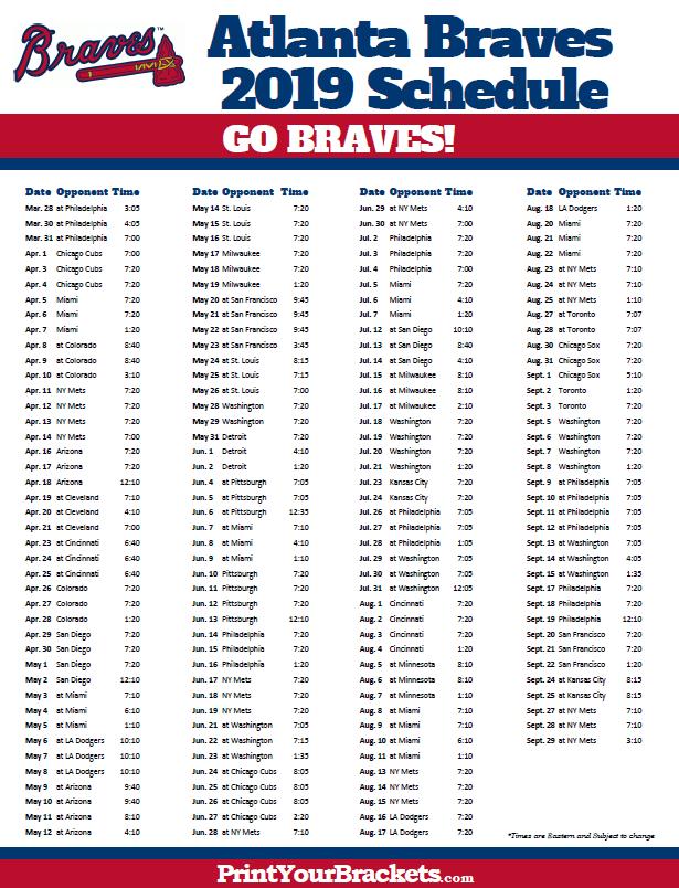 Braves Baseball Schedule 2019 Printable 2019 Atlanta Braves Schedule | Printable MLB Schedules