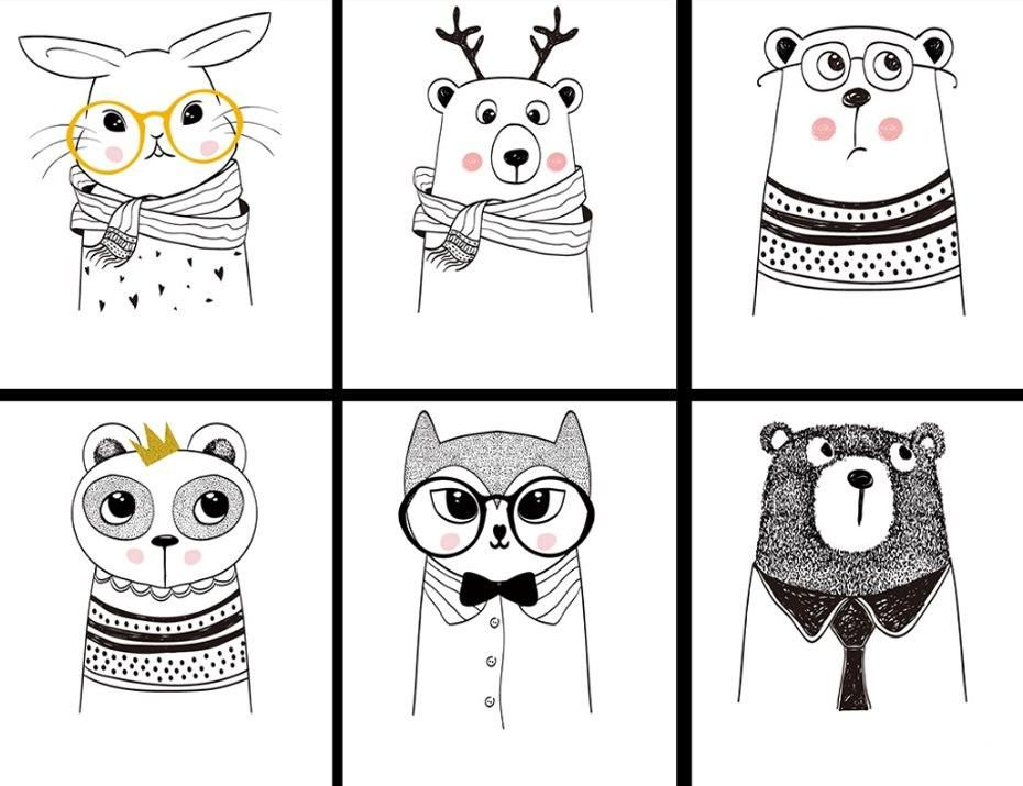 Playful Nordic Cartoon Characters Cute Animals Abstract Nursery Wall Art Nordicwallart Com Kids Canvas Painting Cute Cartoon Animals Canvas Prints