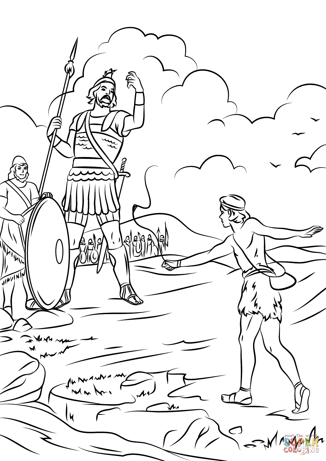 david and goliath fighting  super coloring  Библейские