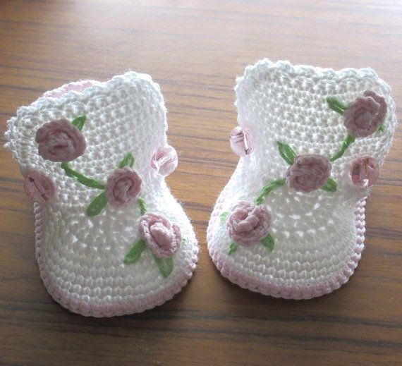 Crochet baby boots,Crochet baby shoes,Crochet booties,Crochet roses ...