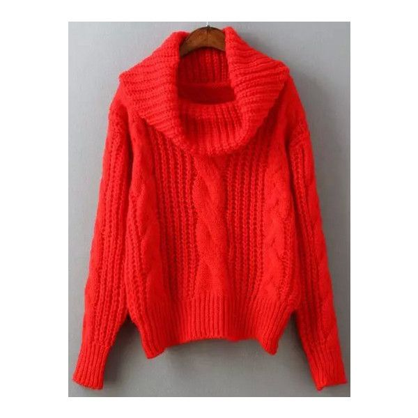 SheIn(sheinside) Red High Neck Cable Knit Sweater ($10) ❤ liked ...