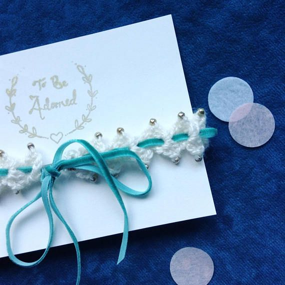 Crochet Wedding Garter: Teal And Gold Wedding Garter This Beaded Crochet Wedding