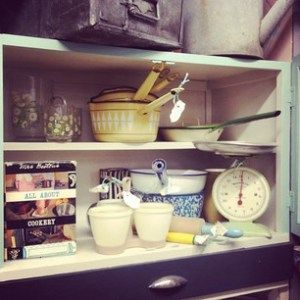 50s kitchen cabinet and enamelled pans.    Antique Owl
