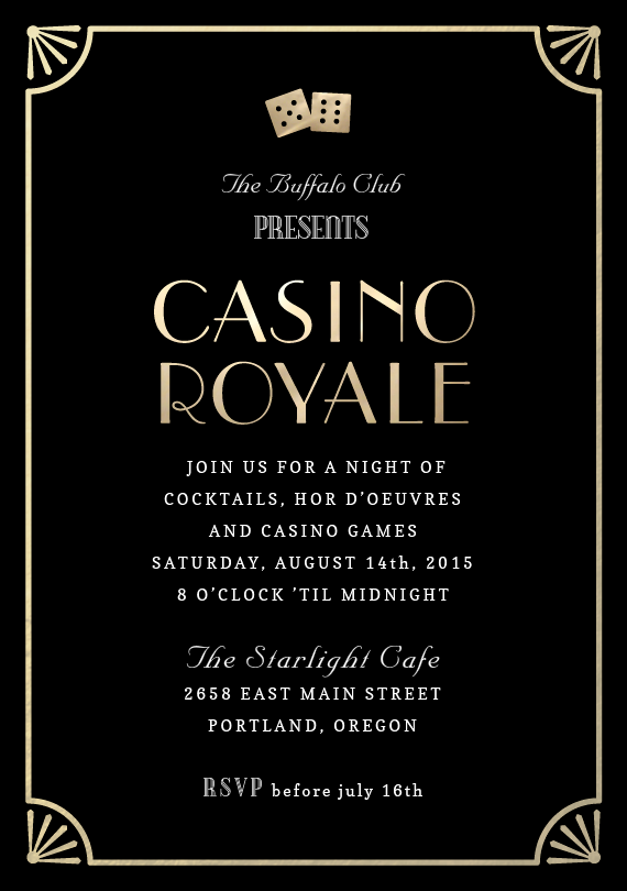 Casino Royale Invitations in Black Casino royale Casino night and