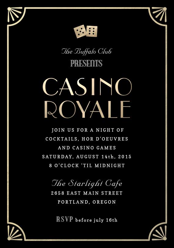 Casino Royale Invitations in Black | Casino theme ...