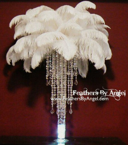 NEW! Crystal Feather Centerpieces