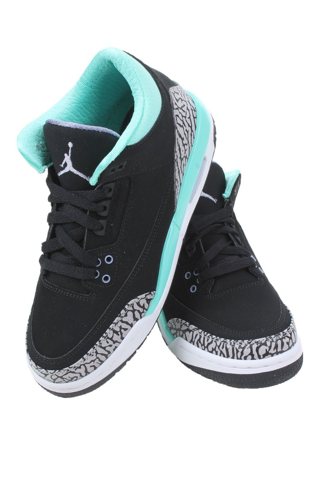 4367427722d Nike Girls Air Jordan 3 Retro (GS) Kids Black Bleached Turquoise Wolf  Grey Iron Purple 441140-045 (SIZE  4.5Y)