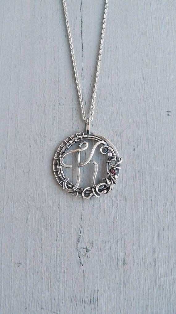 Personalized silver necklace K - 999 fine silver jewelry - wire ...