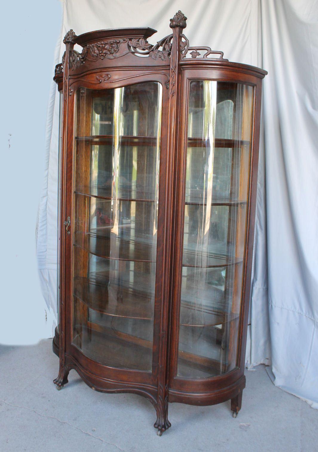 Antique Oak Curio China Cabinet Art Nouveau Style Fancy