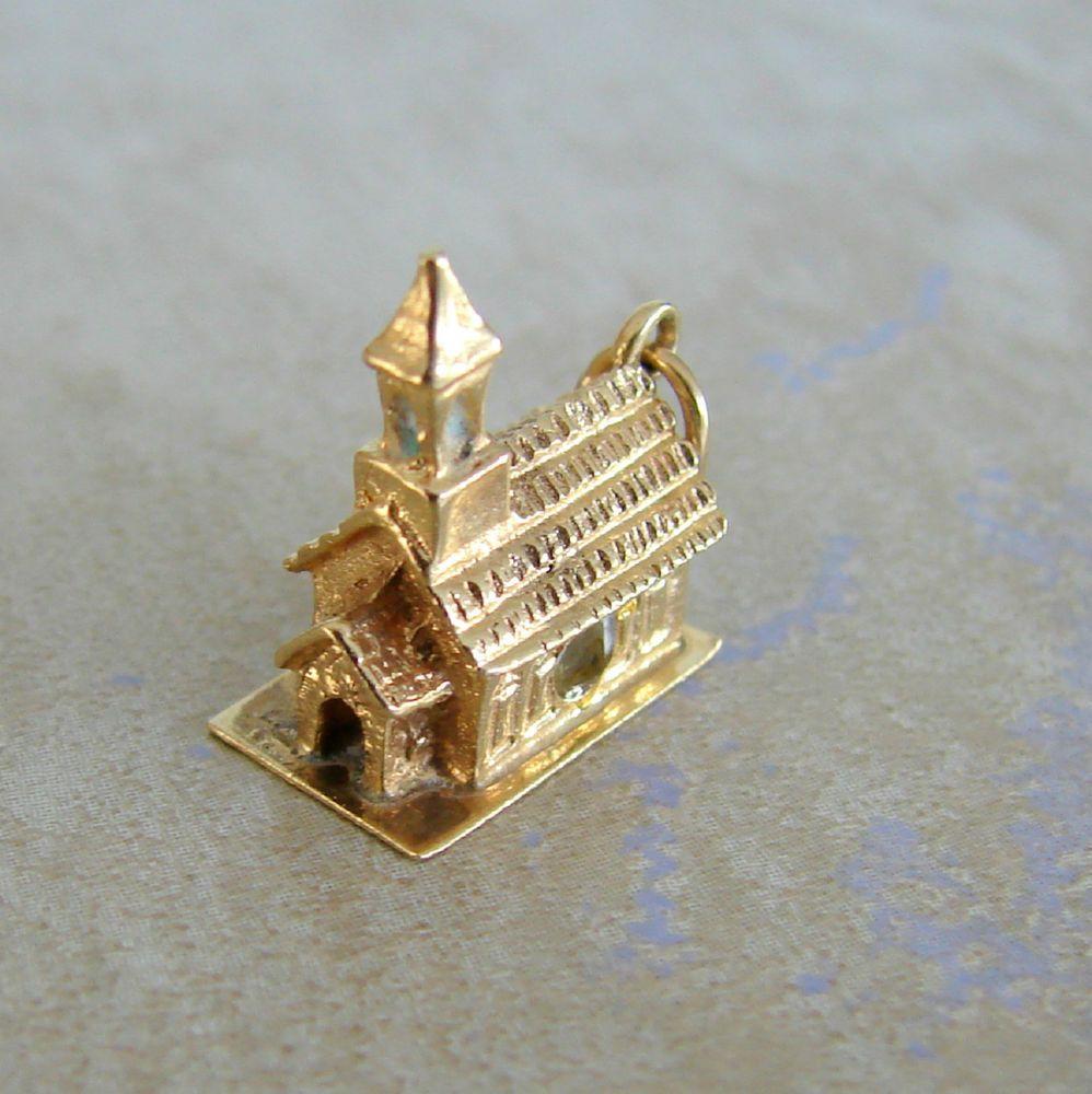 scrap value 14k yellow gold church bracelet charm lords prayer