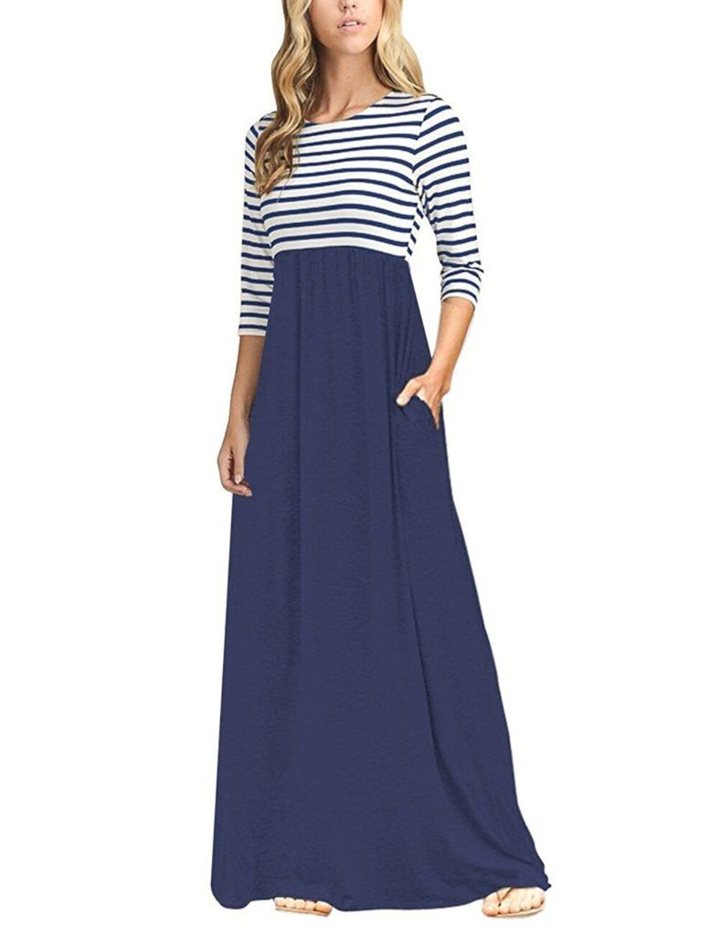 Tecrew Women S Casual 3 4 Sleeve Maxi Dress Striped Empire Waist With Pockets Shop2online Best Woman S Fashion Products Designed To Provide Maxi Dresses Casual Maxi Dress Maxi Dress With Sleeves [ 1024 x 788 Pixel ]