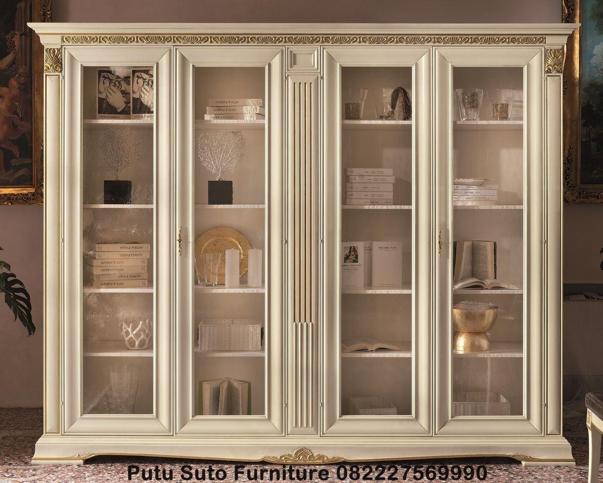 Lemari Pajangan Ruang Tamu Ukir Jepara Syalendra Furniture