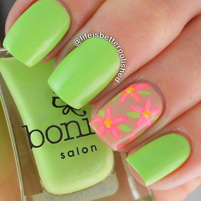 Green, flowers nails. Nail art. Nail design. Bonita Polish. Polishes ...