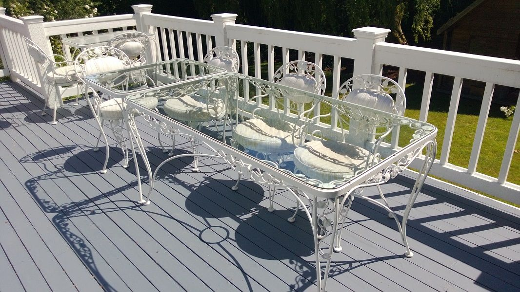 Woodard Chantilly Rose 9 piece wrought iron patio set c 1950s
