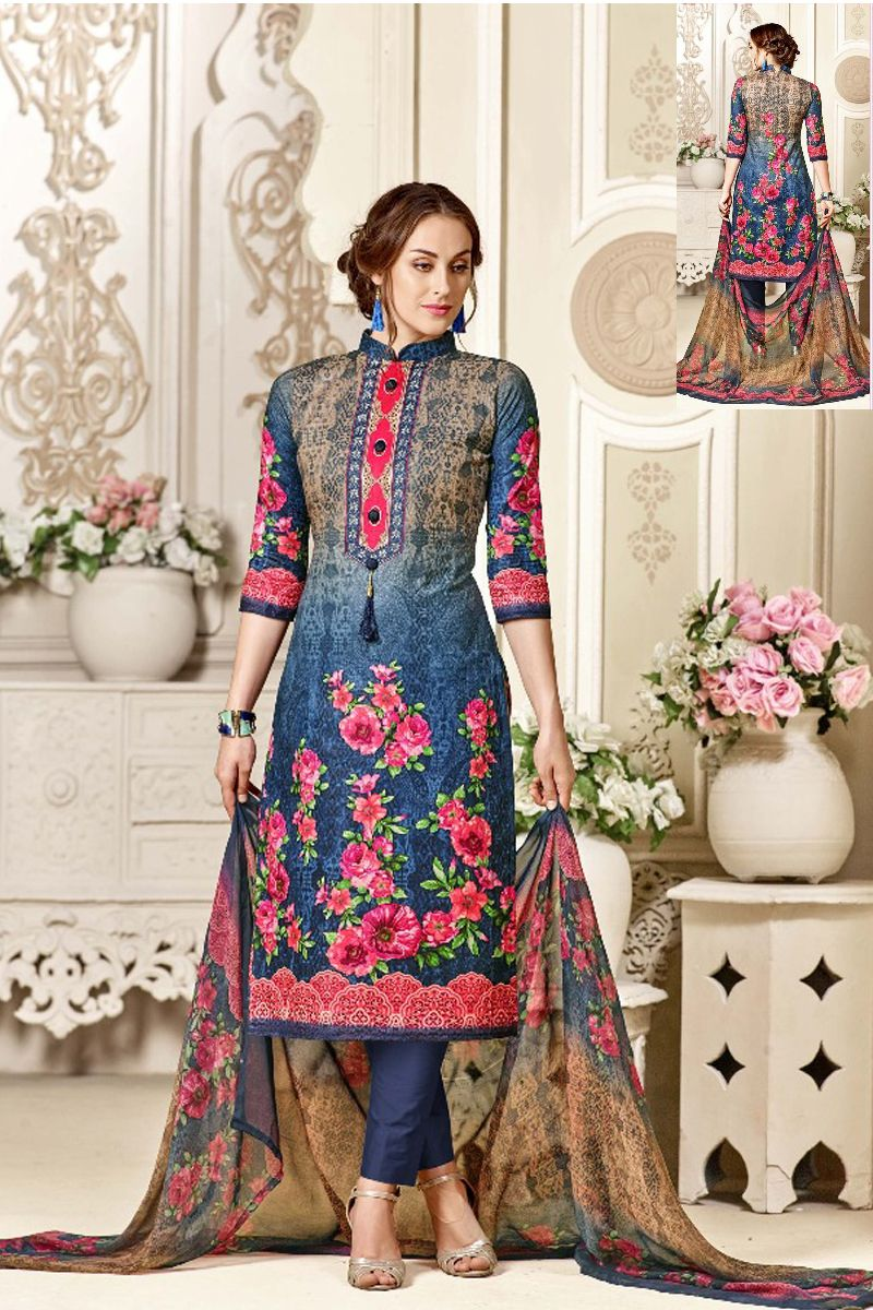 a7210616bb Blue-Floral-Print-Printed-Daily-Wear-Cotton-Salwar-Suit-Materail-In ...