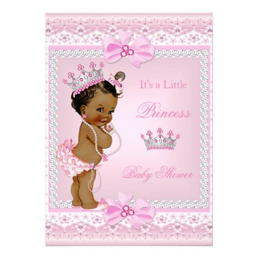 ethnic princess baby shower girl pink pearls tiara 5x7 paper, Baby shower invitations