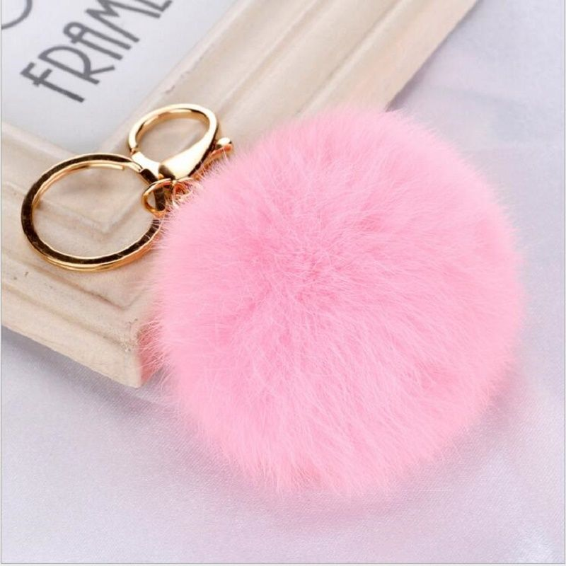 Fluffy Rabbit Fur Ball  Car Keychain Pendant Handbag Charm Keyring 8cm Hot