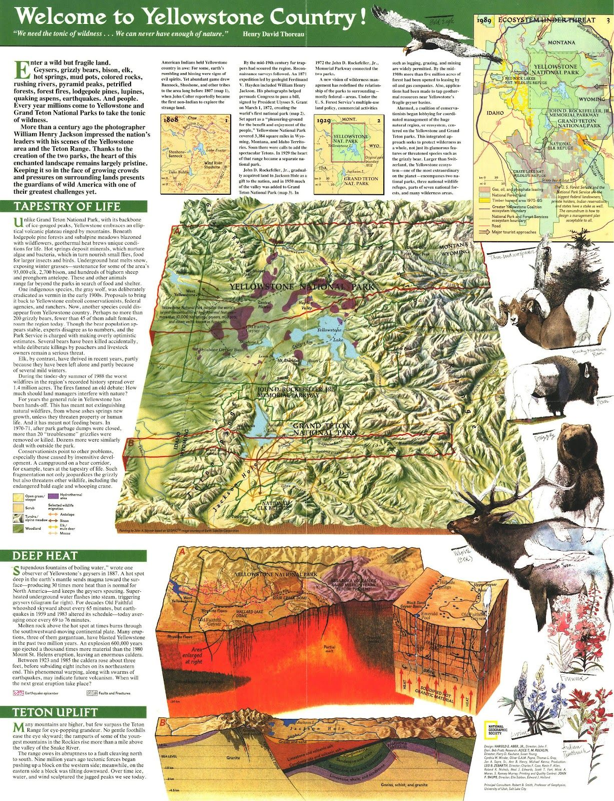 Map To Yellowstone Country National Geographic Maps Grand Tetons Tetons
