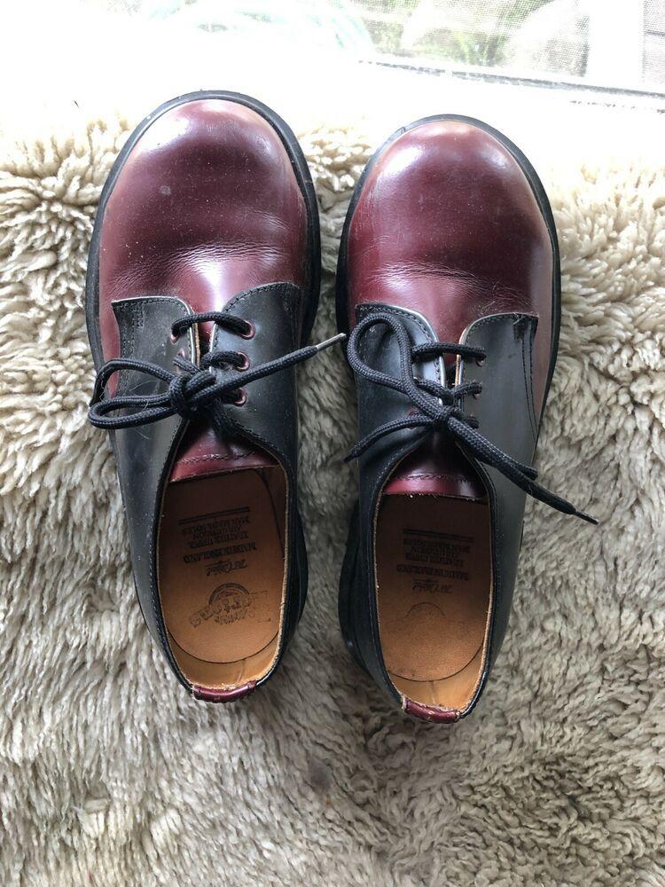 Doc Marten Red & Black Size 3 English Made 3 Hole Shoe