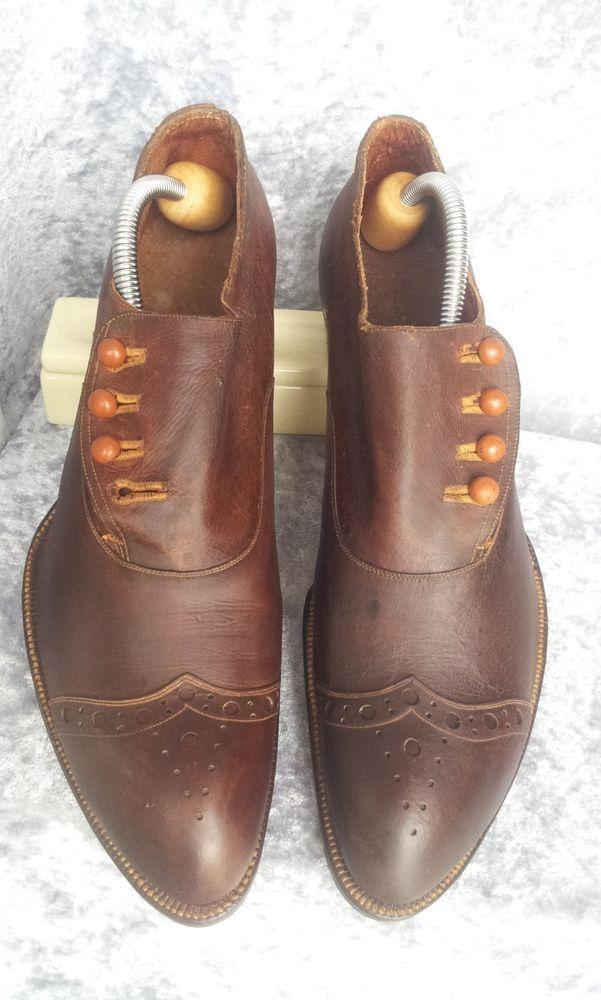 481cb3bfeb58d 1890 1900s BESPOKE mens BUTTON shoes fit a 9 9.5 ANTIQUE VTG ...