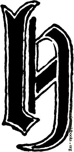 Calligraphic Letter H In 15th Century Gothic Style Lettering