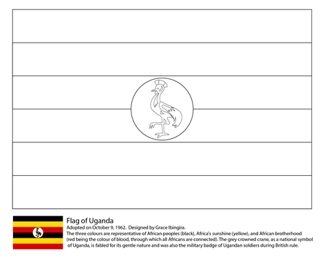 Flag Of Uganda Coloring Page Flag Coloring Pages Coloring Pages Uganda Flag