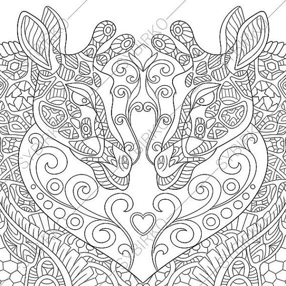Two Giraffes In Love Coloring Page For Valentines Day Greeting