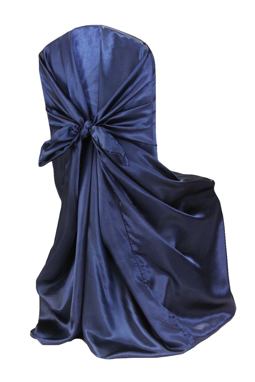 Universal Satin Self Tie Chair Cover Navy Blue Wedding