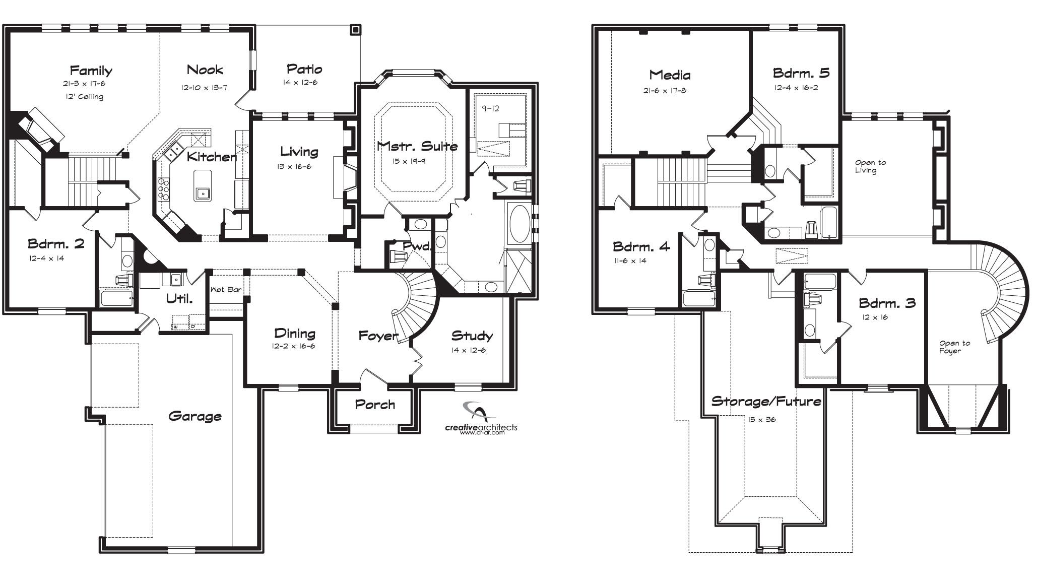 2 Story 5 Bedroom House Plans Comfortable Eastwood : Texas