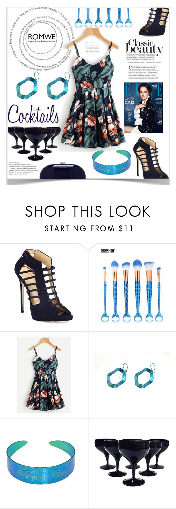 """Cocktail night"" by giampourasjewel ❤ liked on Polyvore featuring Giuseppe Zanotti, GE, Jeffrey Levinson, romwe and brunchgoals"