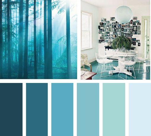 Azules del bosque paletas de color colores para pintar - Colores de pintura para paredes de dormitorios ...