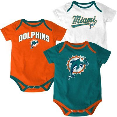 26c2cd68a Miami Dolphins Infant 3-Piece Team Logo Creeper Set | Dolphins ...