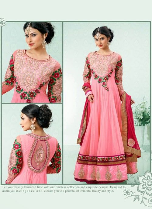 #TVActress #MouniRoy in Mesmerizing #Pink #Suit With Patch Patti Work