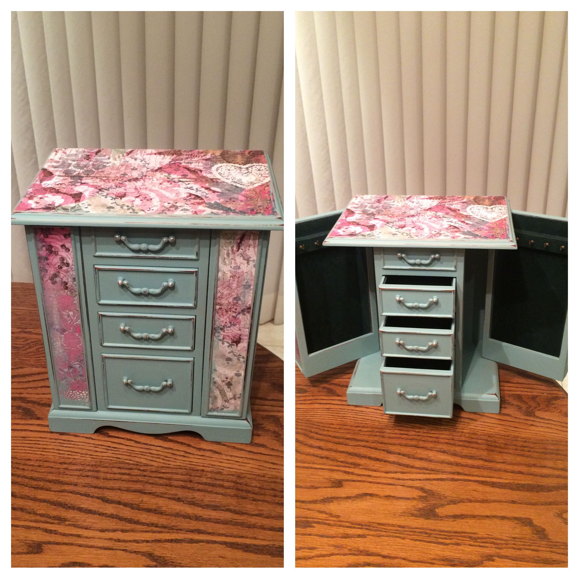 Child s hand painted rocking chair - Up Cycled Bombay Jewellery Box Painted With Bluestone
