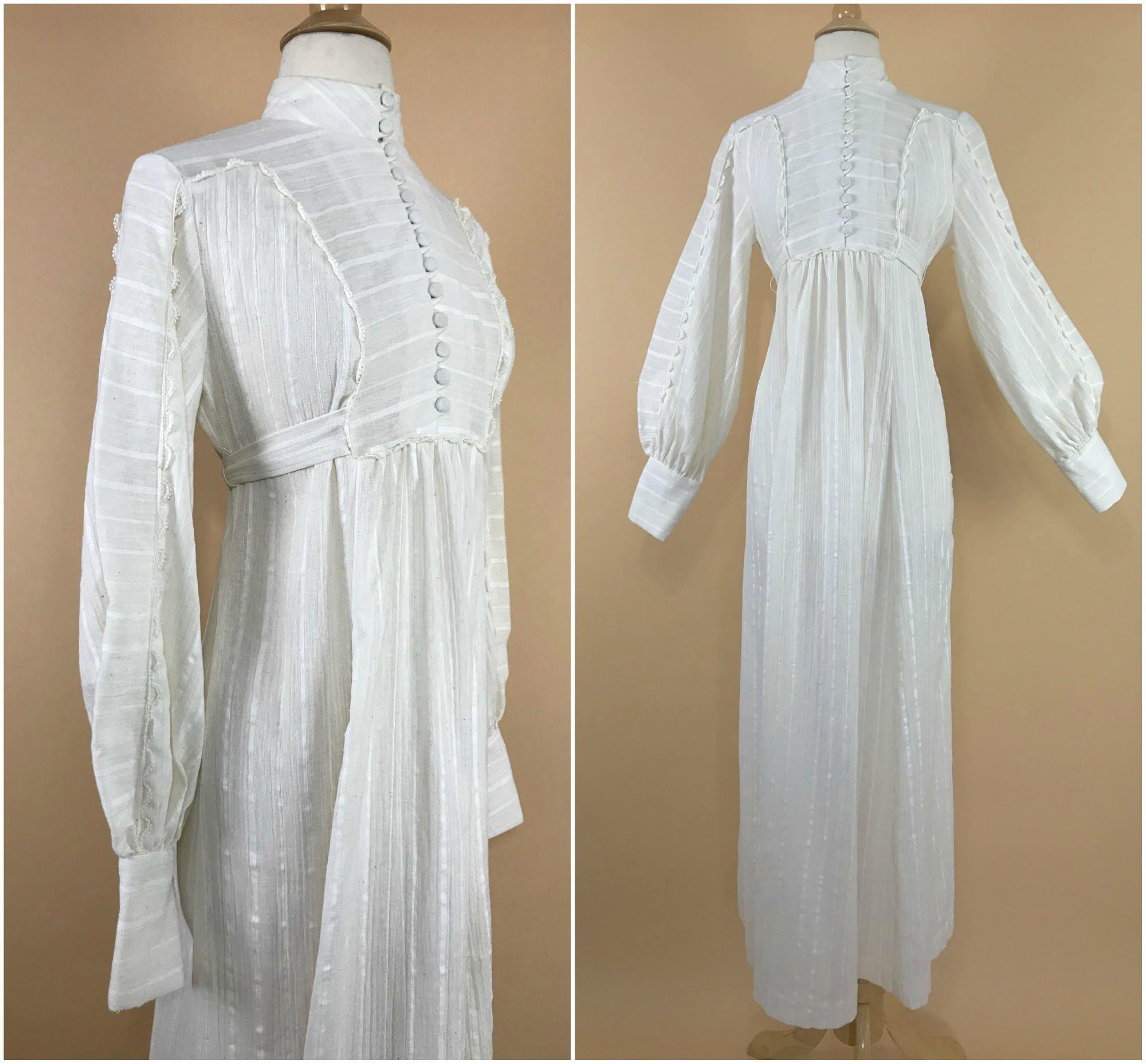 1970s Prairie Dress Empire Waist Vintage Victorian Dress White Gauze Maxi Dress 70s Peasant Dress Edwardian Pioneer Dress Bishop Sleeves Gauze Maxi Dress Pioneer Dress Prairie Dress [ 1857 x 2000 Pixel ]