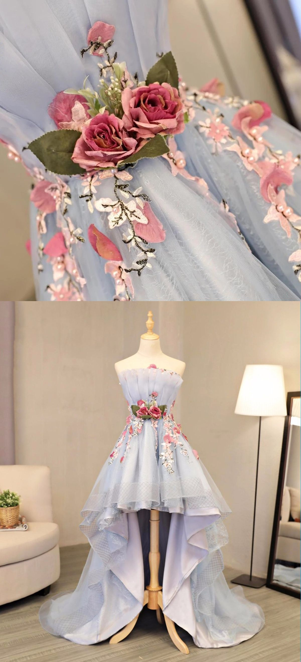 Skyblue tulle strapless high low flower appliques homecoming dress