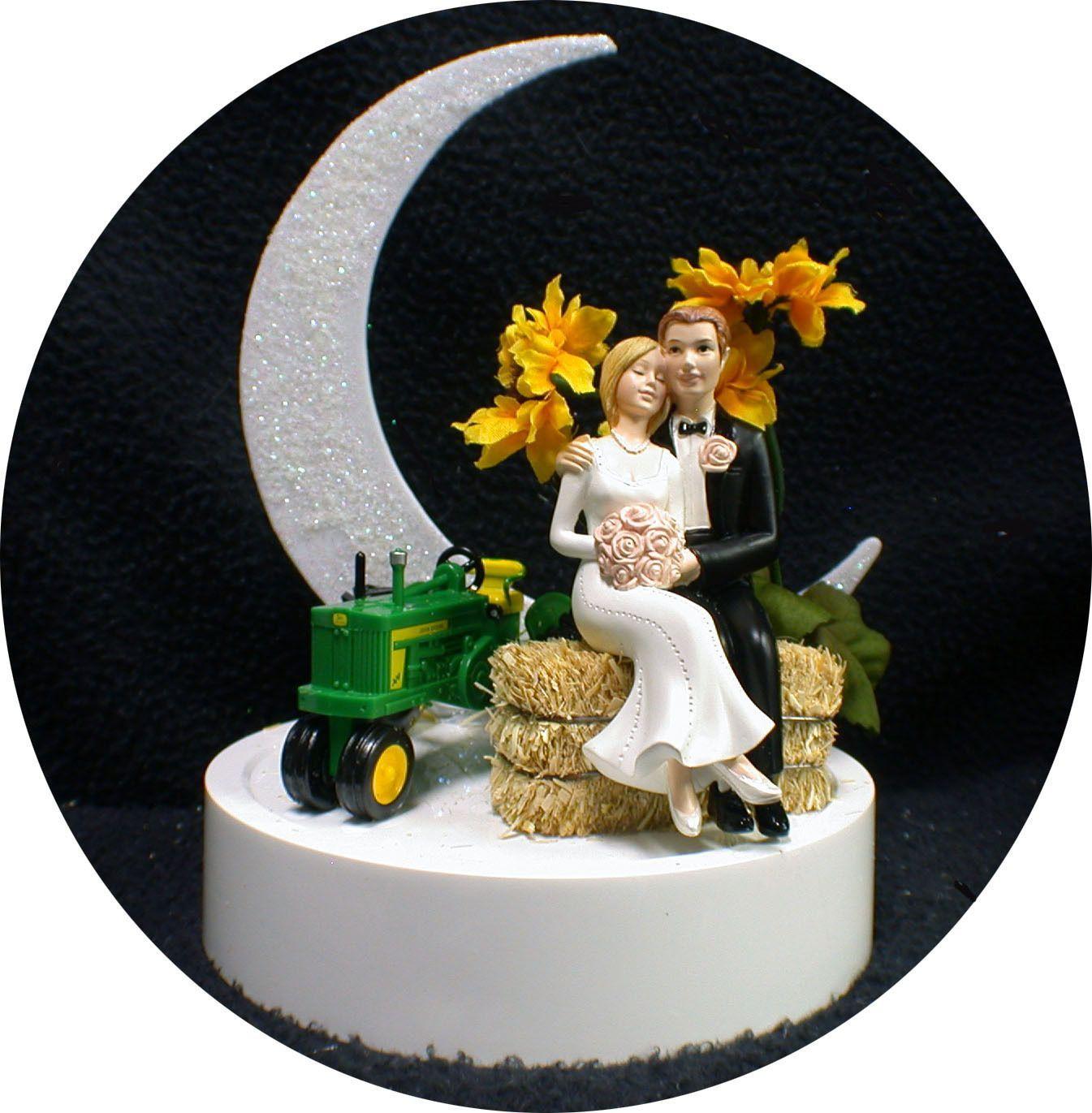 Rustic country sunflower u john deere tractor wedding cake topper