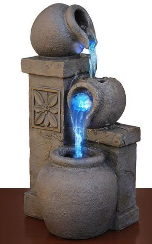 Led Fountain Rustic Vase Color Changing Tabletop Waterfall Water Desk Home Decor