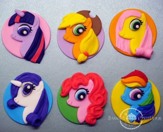 Fondant Edible My Little Pony Inspired Cupcake Toppers With
