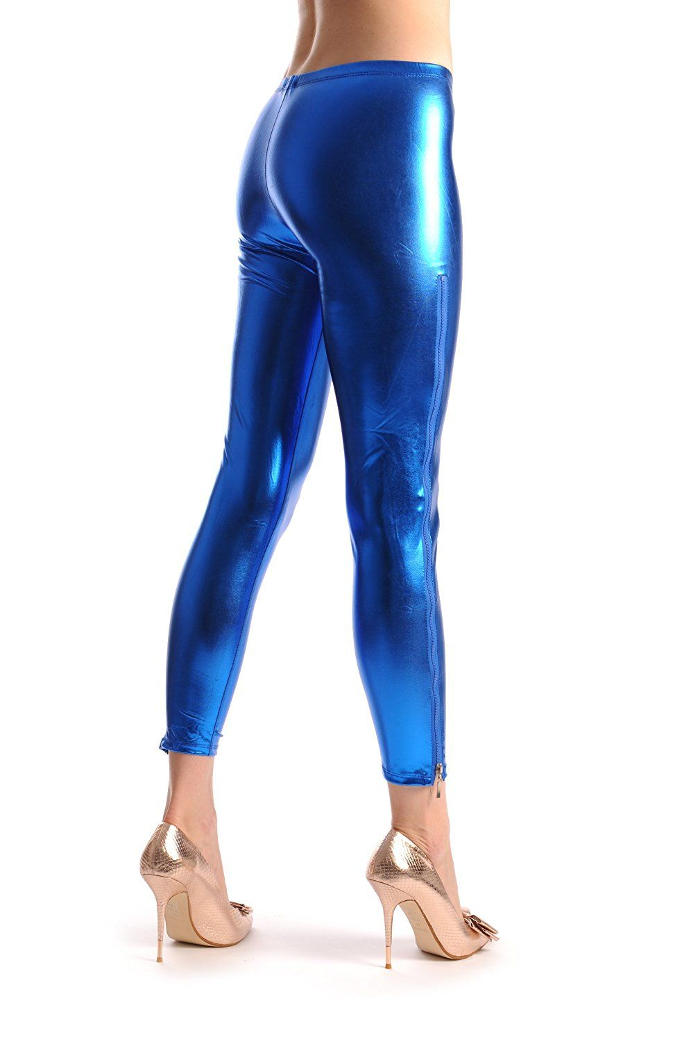 15fdbc44ea94ab Blue Shiny Faux Leather Wet Look With Side Zip - Leggings >>> This is an  Amazon Affiliate link. Read more at the image link.