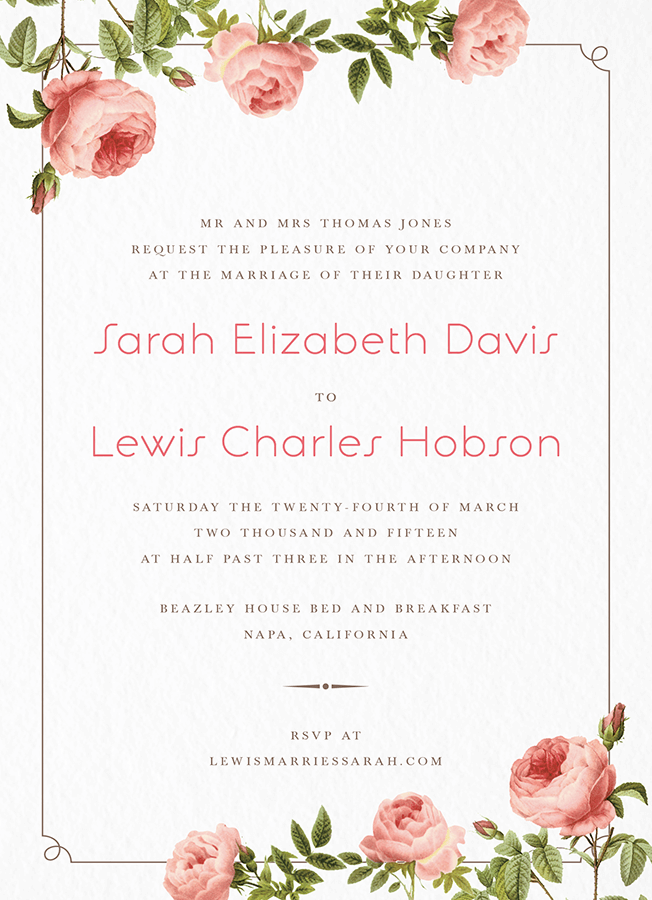 classic rose invitation my big fat postable wedding pinterest