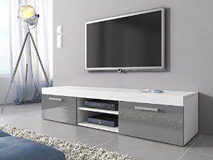 Tv Unit Cabinet Stand Mambo White Matt Grey High Gloss 160 Cm Amazon Co Uk Kitchen Home Porta Tv Tv Porta