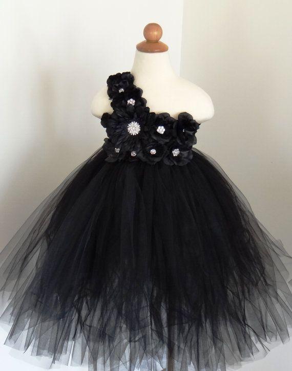 Black Flower Girl Dress.... Birthday Tutu Dress.... by LureCouture ...