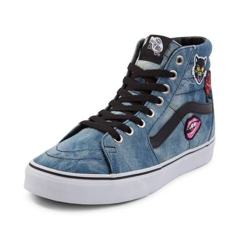 b1fa6a4831 Vans Sk8 Hi Denim Patches Skate Shoe