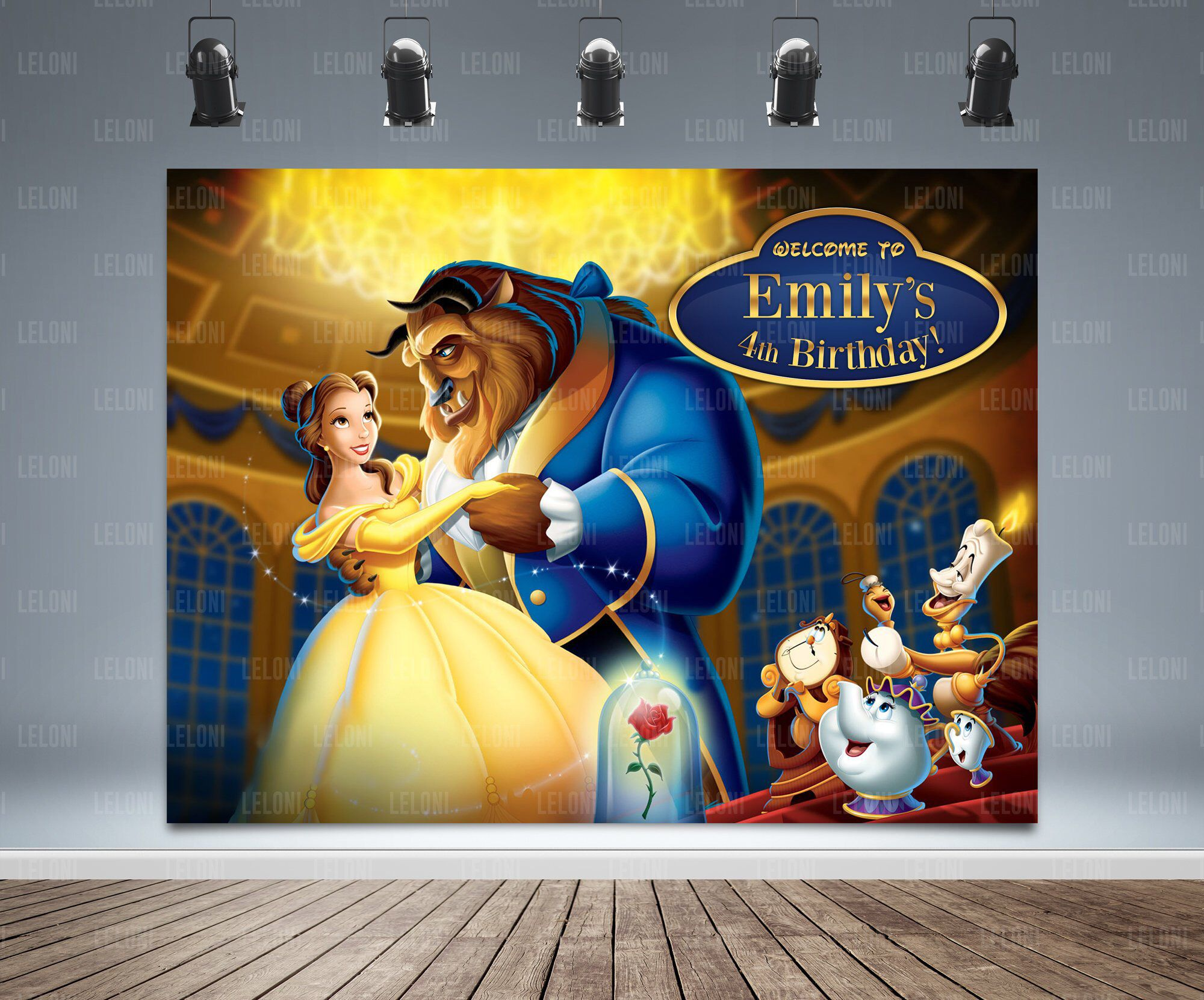 Beauty and the Beast Backdrop Banner, Belle, Beast, Mrs