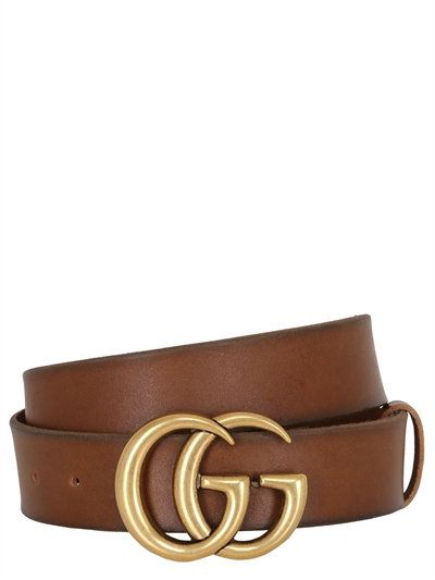 9b54e6dc4c3 GUCCI - 40MM GG BUCKLE LEATHER BELT - TAN