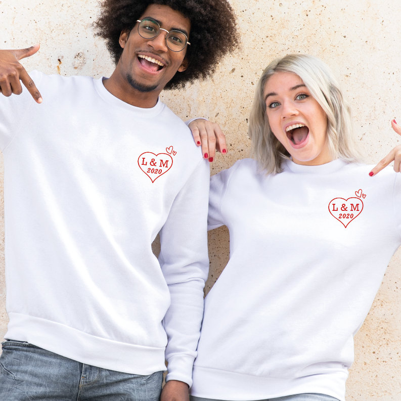 Personalised Matching Couple Heart with Initials and Year Graphic Sweatshirts - XS / Blue
